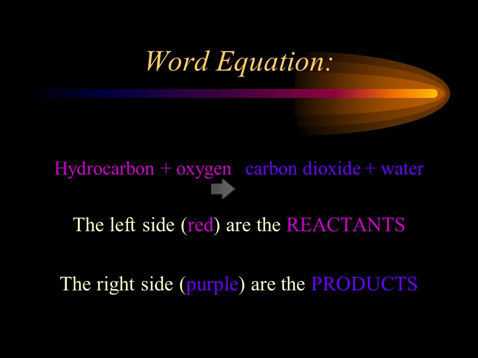Word Equation: Hydrocarbon + oxygen carbon dioxide + water The left side (red) are the REACTANTS The right side (purple) are the PRODUCTS