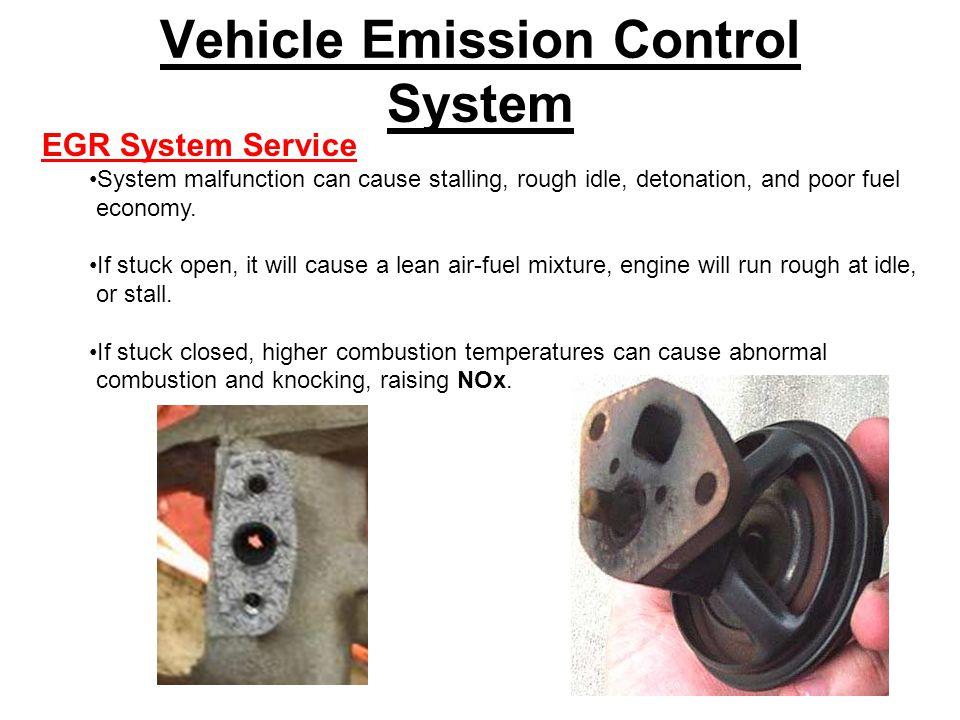 Vehicle Emission Control System EGR System Service System malfunction can cause stalling, rough idle, detonation, and poor fuel economy.