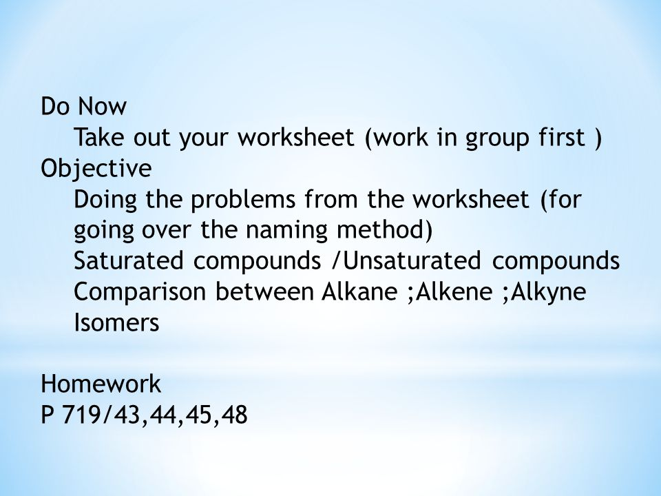 Do Now Take Out Your Worksheet Work In Group First Objective