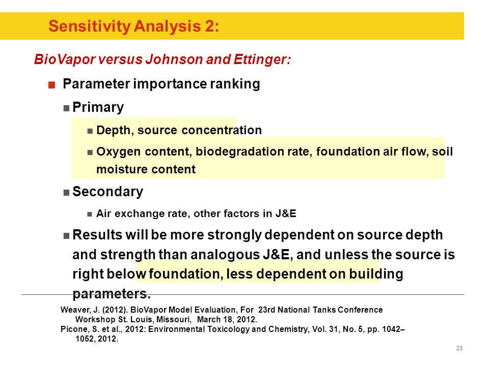 23 Sensitivity Analysis 2: Parameter importance ranking Primary Depth, source concentration Oxygen content, biodegradation rate, foundation air flow, soil moisture content Secondary Air exchange rate, other factors in J&E Results will be more strongly dependent on source depth and strength than analogous J&E, and unless the source is right below foundation, less dependent on building parameters.