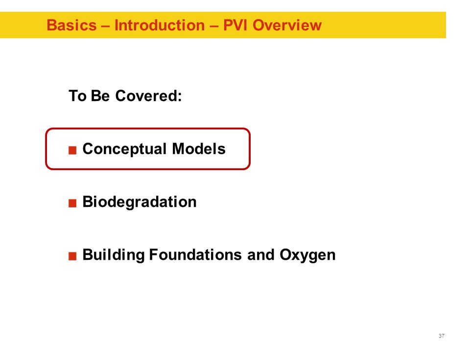 37 Basics – Introduction – PVI Overview To Be Covered: Conceptual Models Biodegradation Building Foundations and Oxygen