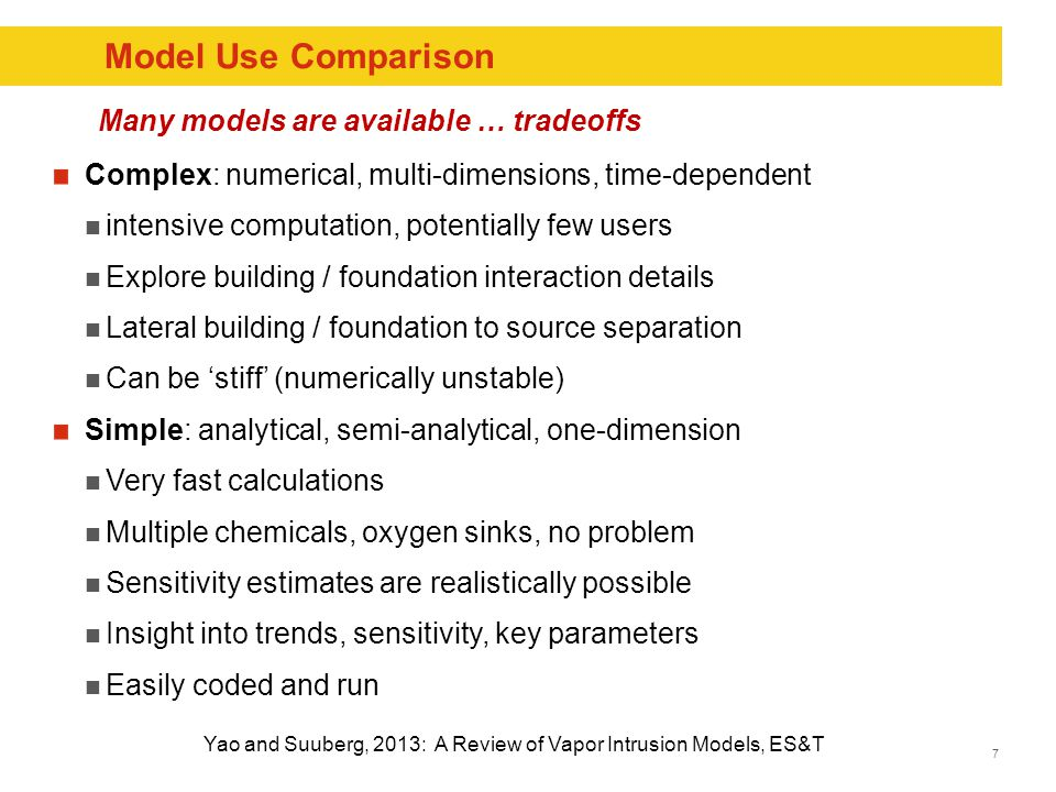 7 Model Use Comparison Complex: numerical, multi-dimensions, time-dependent intensive computation, potentially few users Explore building / foundation interaction details Lateral building / foundation to source separation Can be 'stiff' (numerically unstable) Simple: analytical, semi-analytical, one-dimension Very fast calculations Multiple chemicals, oxygen sinks, no problem Sensitivity estimates are realistically possible Insight into trends, sensitivity, key parameters Easily coded and run Yao and Suuberg, 2013: A Review of Vapor Intrusion Models, ES&T Many models are available … tradeoffs
