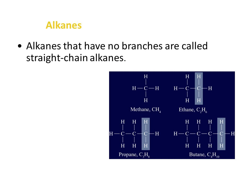 Alkanes The carbons in an alkane can be arranged in a chain or a ring, and both chains and rings can have branches of other carbon chains attached to them.