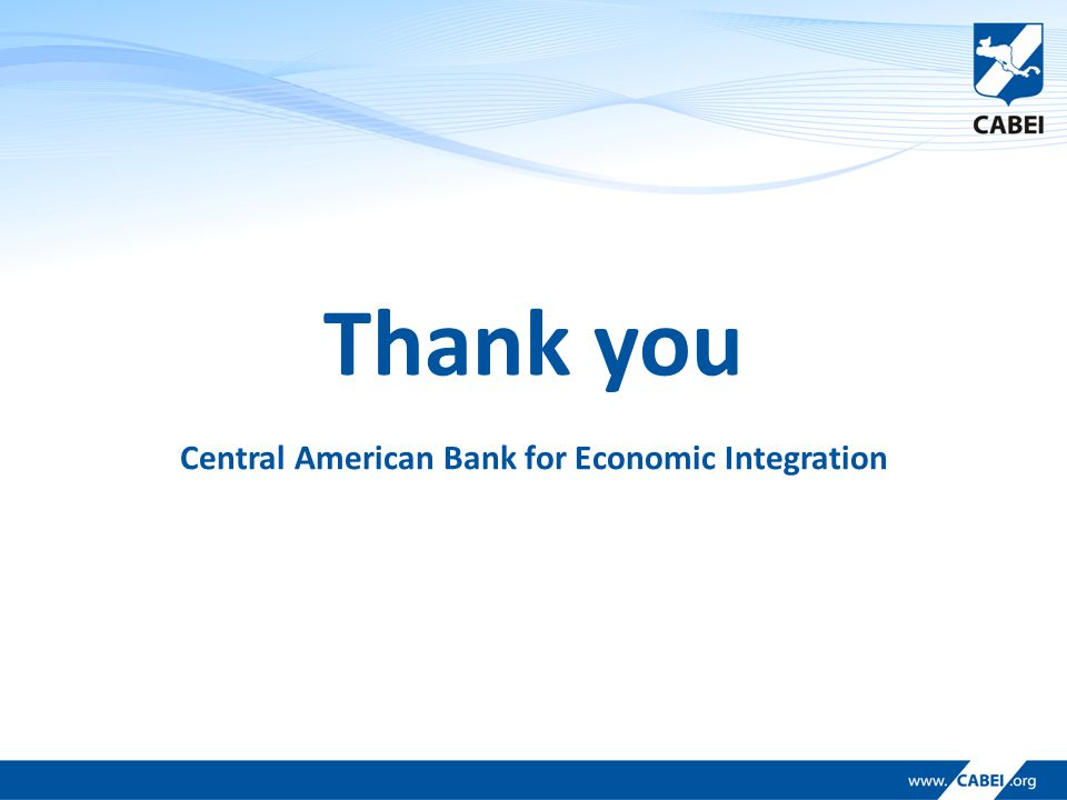 Thank you Central American Bank for Economic Integration