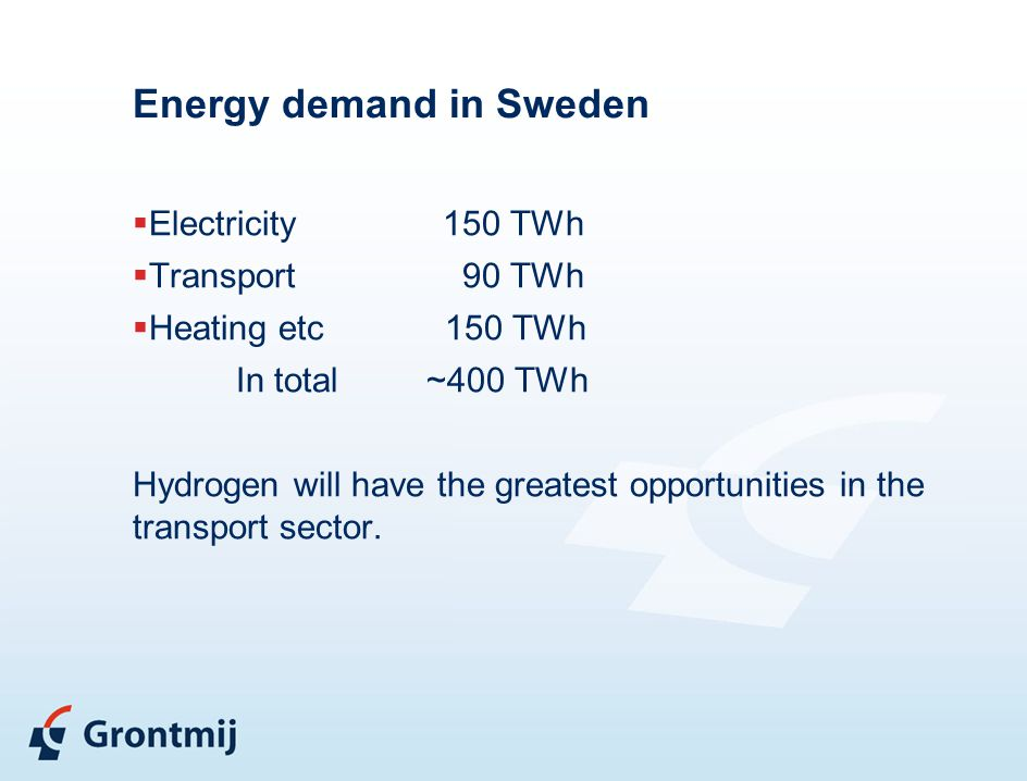 Energy demand in Sweden  Electricity 150 TWh  Transport 90 TWh  Heating etc 150 TWh In total ~400 TWh Hydrogen will have the greatest opportunities in the transport sector.