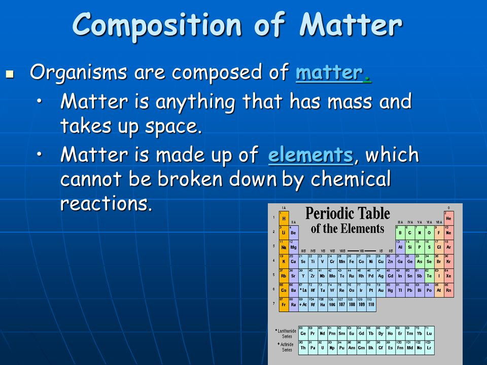 Composition of Matter Organisms are composed of matter.