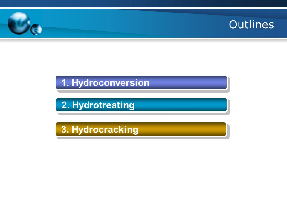 Outlines 1. Hydroconversion 2. Hydrotreating 3. Hydrocracking