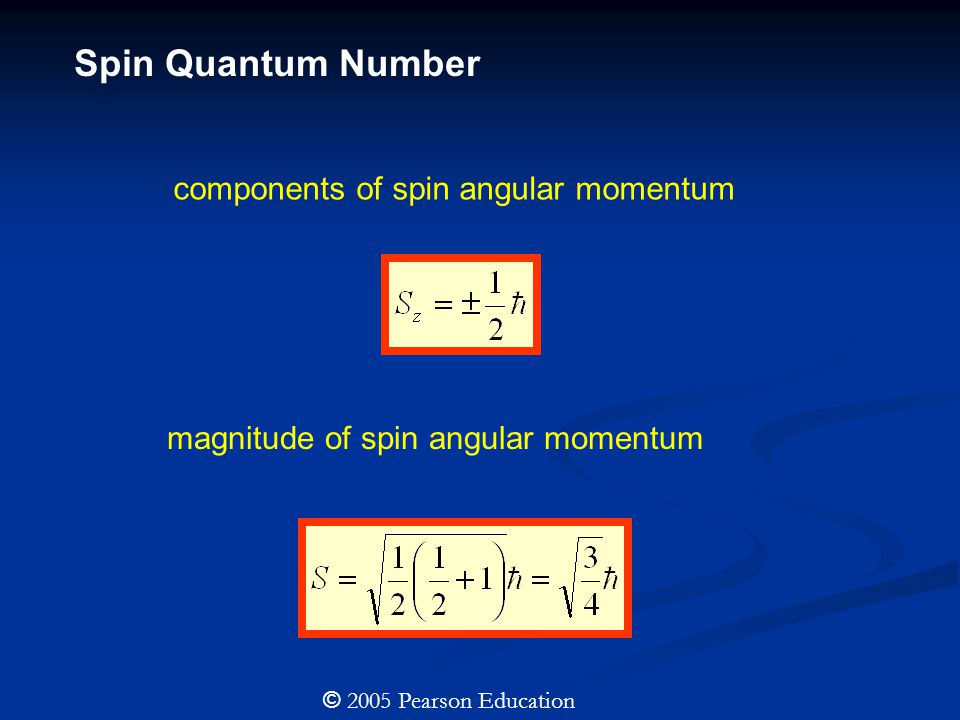 components of spin angular momentum magnitude of spin angular momentum © 2005 Pearson Education Spin Quantum Number