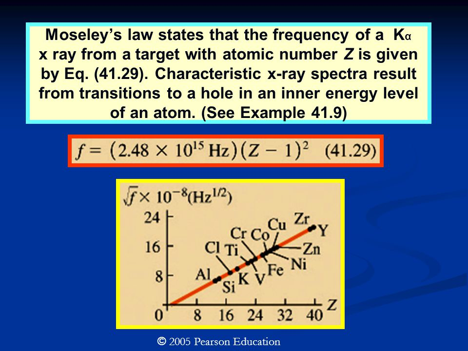 Moseley's law states that the frequency of a K α x ray from a target with atomic number Z is given by Eq.