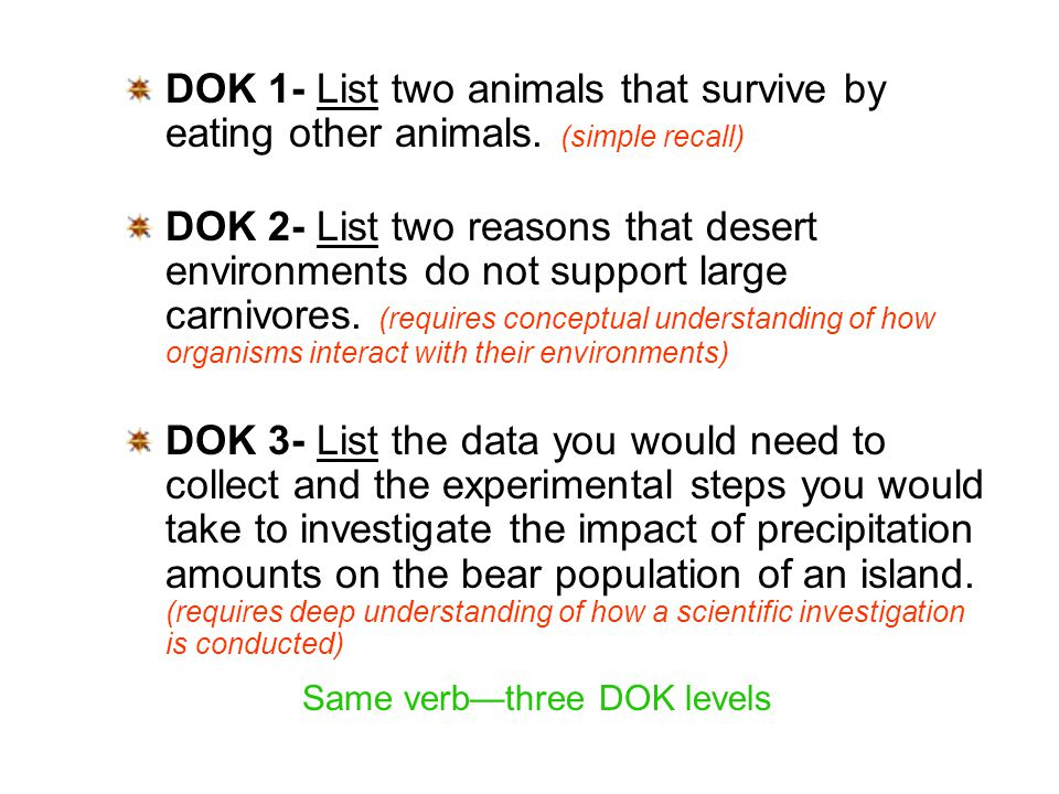DOK 1- List two animals that survive by eating other animals.