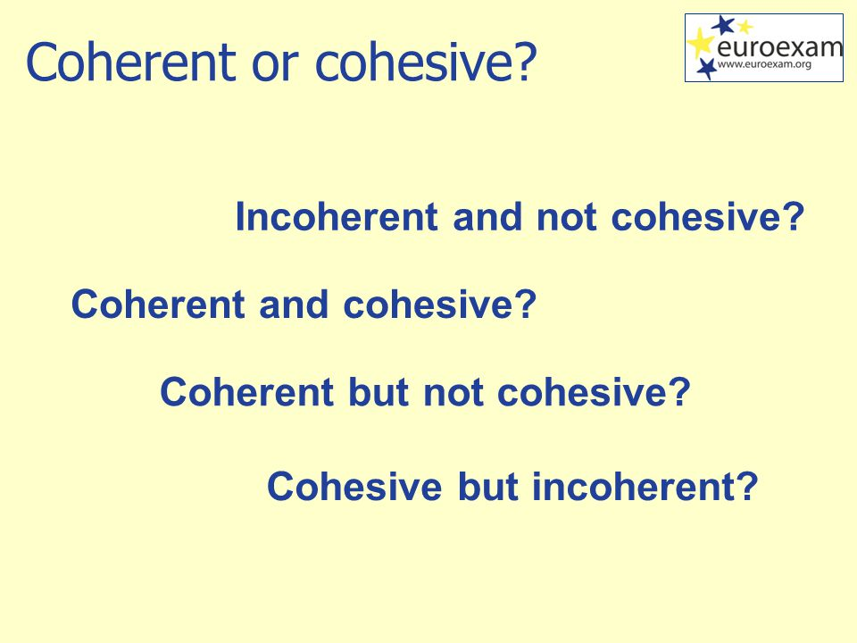 Coherent or cohesive. Coherent and cohesive. Coherent but not cohesive.