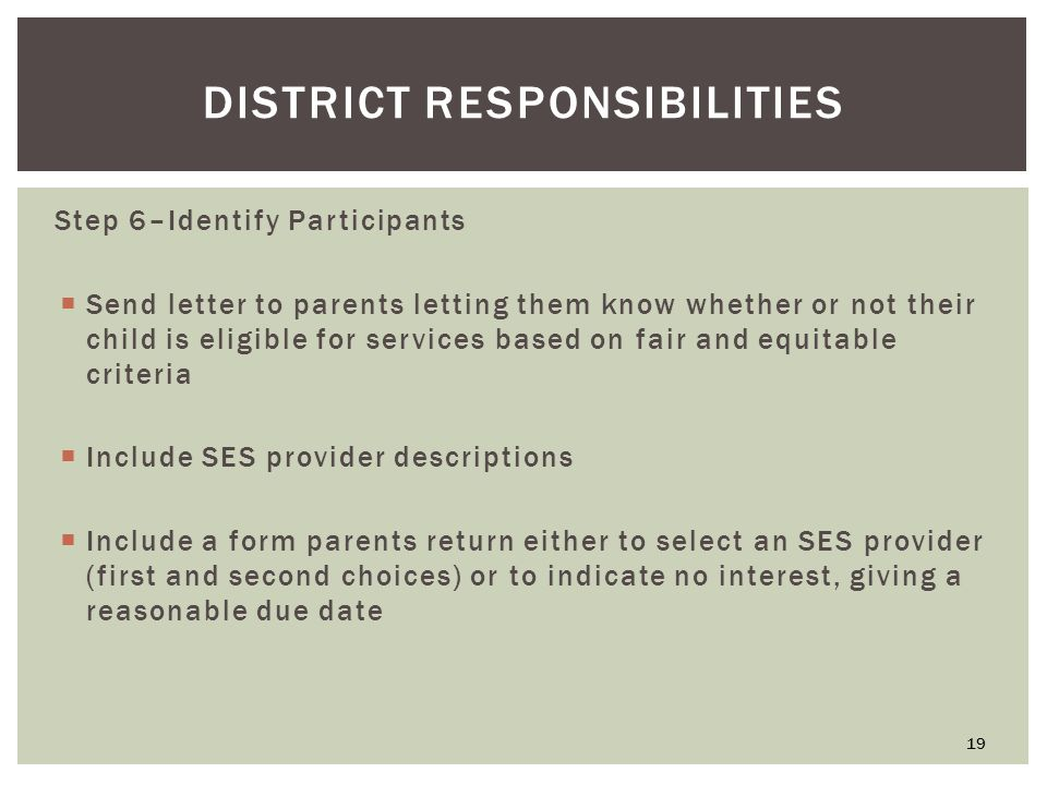DISTRICT RESPONSIBILITIES Step 6–Identify Participants  Send letter to parents letting them know whether or not their child is eligible for services based on fair and equitable criteria  Include SES provider descriptions  Include a form parents return either to select an SES provider (first and second choices) or to indicate no interest, giving a reasonable due date 19