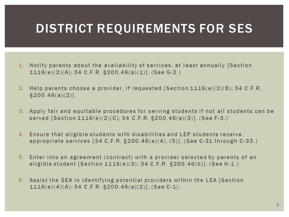 DISTRICT REQUIREMENTS FOR SES 1.Notify parents about the availability of services, at least annually [Section 1116(e)(2)(A); 34 C.F.R.
