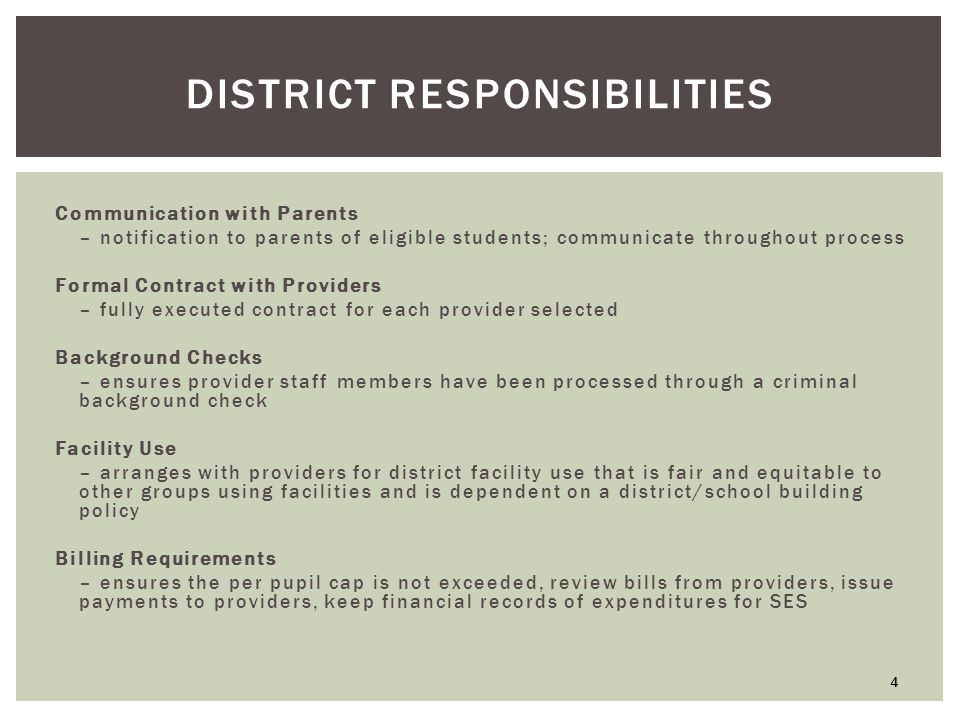 DISTRICT RESPONSIBILITIES Communication with Parents – notification to parents of eligible students; communicate throughout process Formal Contract with Providers – fully executed contract for each provider selected Background Checks – ensures provider staff members have been processed through a criminal background check Facility Use – arranges with providers for district facility use that is fair and equitable to other groups using facilities and is dependent on a district/school building policy Billing Requirements – ensures the per pupil cap is not exceeded, review bills from providers, issue payments to providers, keep financial records of expenditures for SES 4
