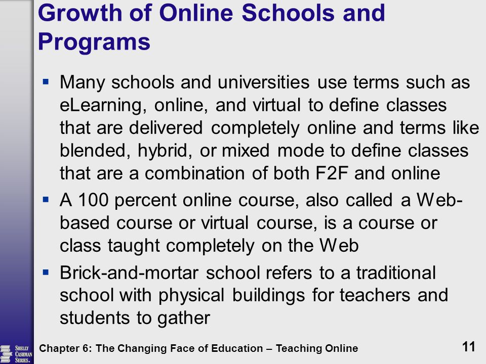 Growth of Online Schools and Programs  Many schools and universities use terms such as eLearning, online, and virtual to define classes that are delivered completely online and terms like blended, hybrid, or mixed mode to define classes that are a combination of both F2F and online  A 100 percent online course, also called a Web- based course or virtual course, is a course or class taught completely on the Web  Brick-and-mortar school refers to a traditional school with physical buildings for teachers and students to gather Chapter 6: The Changing Face of Education – Teaching Online 11