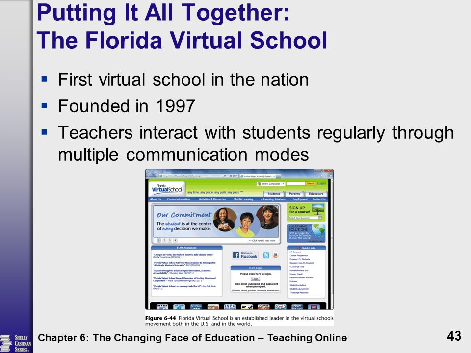 Putting It All Together: The Florida Virtual School  First virtual school in the nation  Founded in 1997  Teachers interact with students regularly through multiple communication modes Chapter 6: The Changing Face of Education – Teaching Online 43