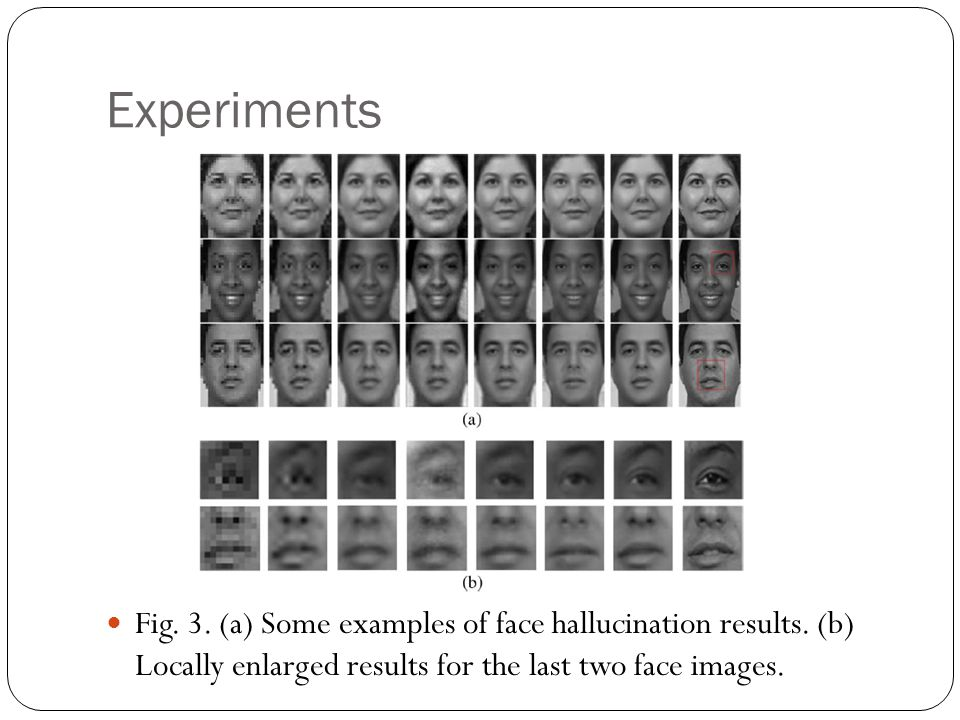 Experiments Fig. 3. (a) Some examples of face hallucination results.
