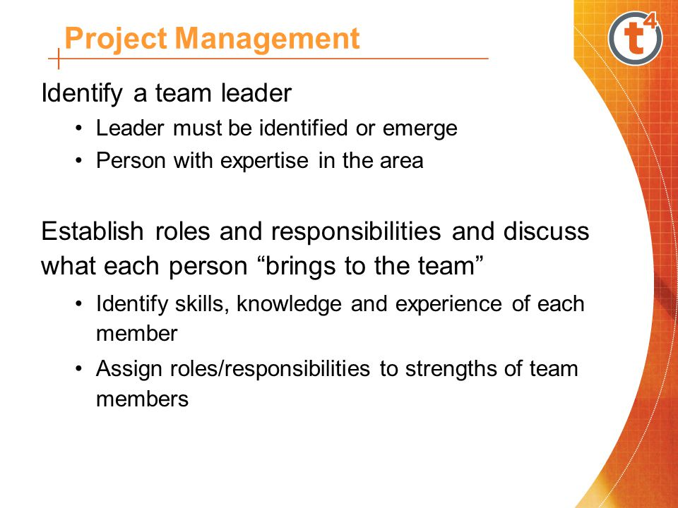 Identify a team leader Leader must be identified or emerge Person with expertise in the area Establish roles and responsibilities and discuss what each person brings to the team Identify skills, knowledge and experience of each member Assign roles/responsibilities to strengths of team members Project Management