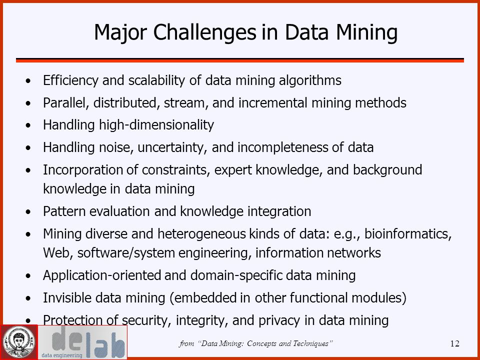 12 Major Challenges in Data Mining Efficiency and scalability of data mining algorithms Parallel, distributed, stream, and incremental mining methods Handling high-dimensionality Handling noise, uncertainty, and incompleteness of data Incorporation of constraints, expert knowledge, and background knowledge in data mining Pattern evaluation and knowledge integration Mining diverse and heterogeneous kinds of data: e.g., bioinformatics, Web, software/system engineering, information networks Application-oriented and domain-specific data mining Invisible data mining (embedded in other functional modules) Protection of security, integrity, and privacy in data mining from Data Mining: Concepts and Techniques