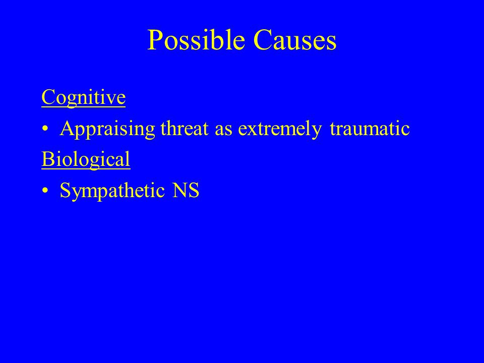 Possible Causes Cognitive Appraising threat as extremely traumatic Biological Sympathetic NS