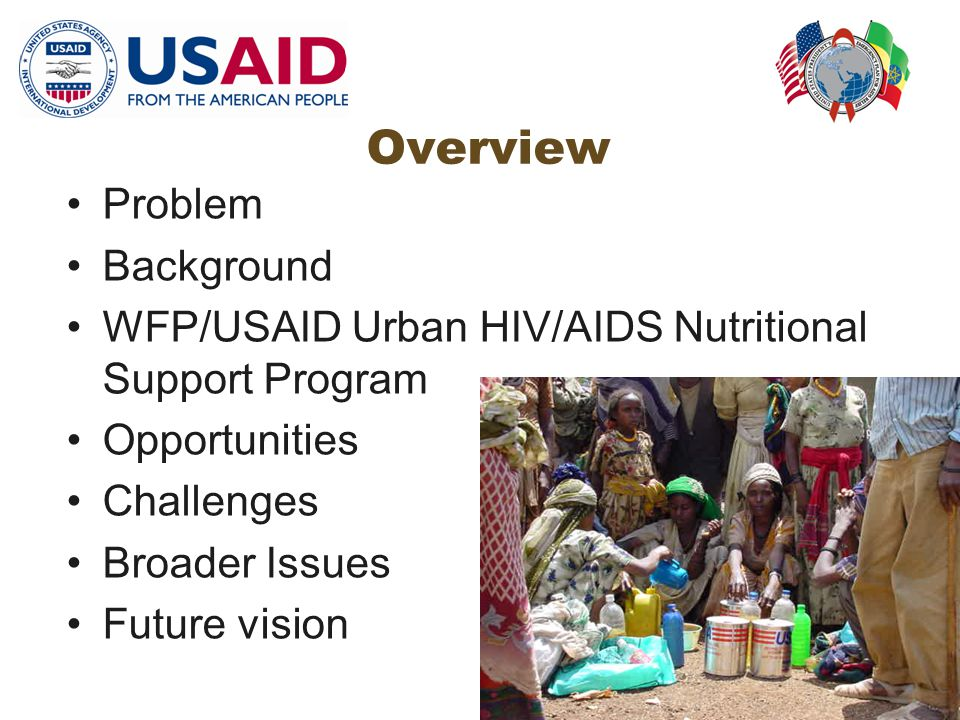 Overview Problem Background WFP/USAID Urban HIV/AIDS Nutritional Support Program Opportunities Challenges Broader Issues Future vision