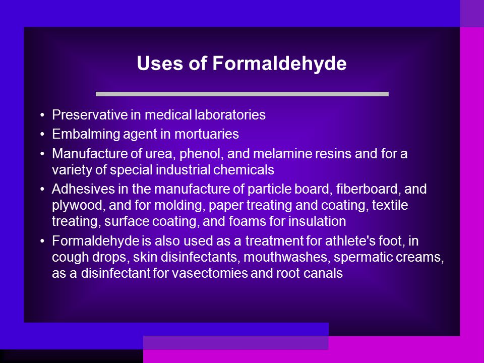 Occupational Exposure To Formaldehyde Presented By The Ecu Office Of