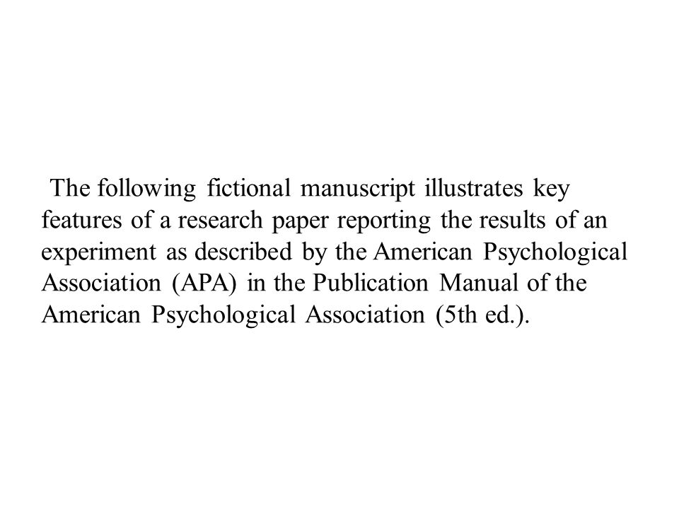 the apa style paper format and documentation of a research study