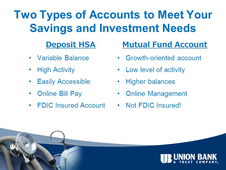 Two Types of Accounts to Meet Your Savings and Investment Needs Deposit HSA Variable Balance High Activity Easily Accessible Online Bill Pay FDIC Insured Account Mutual Fund Account Growth-oriented account Low level of activity Higher balances Online Management Not FDIC Insured!