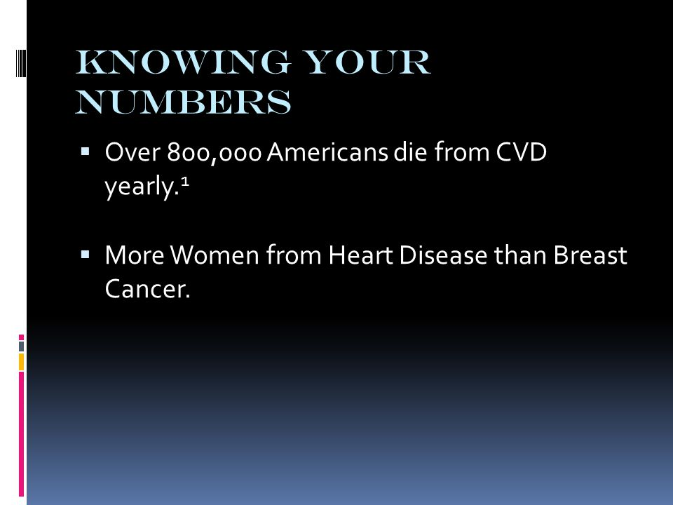 Knowing Your Numbers  Over 800,000 Americans die from CVD yearly.