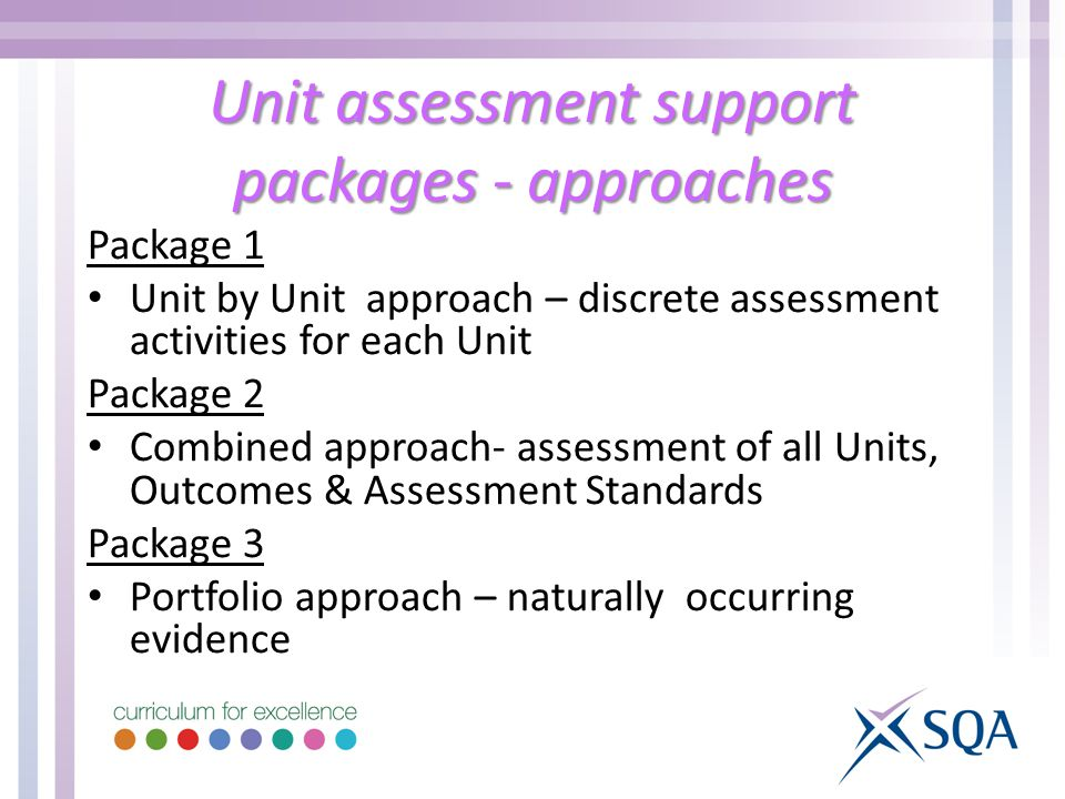 Unit assessment support packages - approaches Package 1 Unit by Unit approach – discrete assessment activities for each Unit Package 2 Combined approach- assessment of all Units, Outcomes & Assessment Standards Package 3 Portfolio approach – naturally occurring evidence