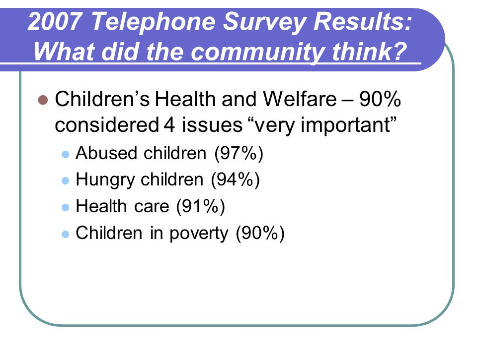 2007 Telephone Survey Results: What did the community think.