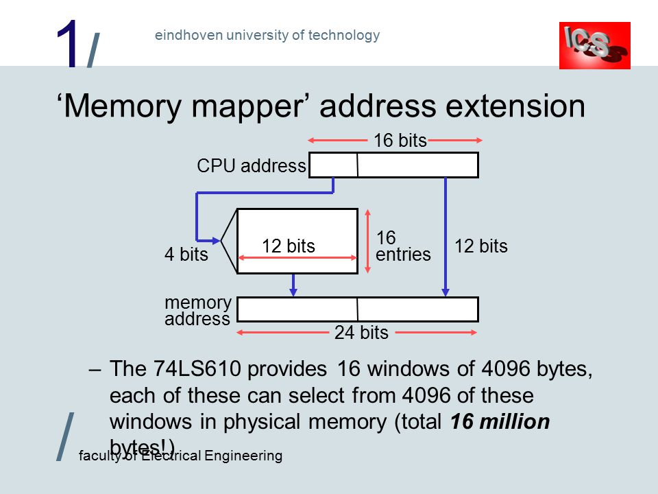 1/1/ / faculty of Electrical Engineering eindhoven university of technology 24 bits memory address 'Memory mapper' address extension –The 74LS610 provides 16 windows of 4096 bytes, each of these can select from 4096 of these windows in physical memory (total 16 million bytes!) CPU address 16 bits 4 bits 16 entries 12 bits