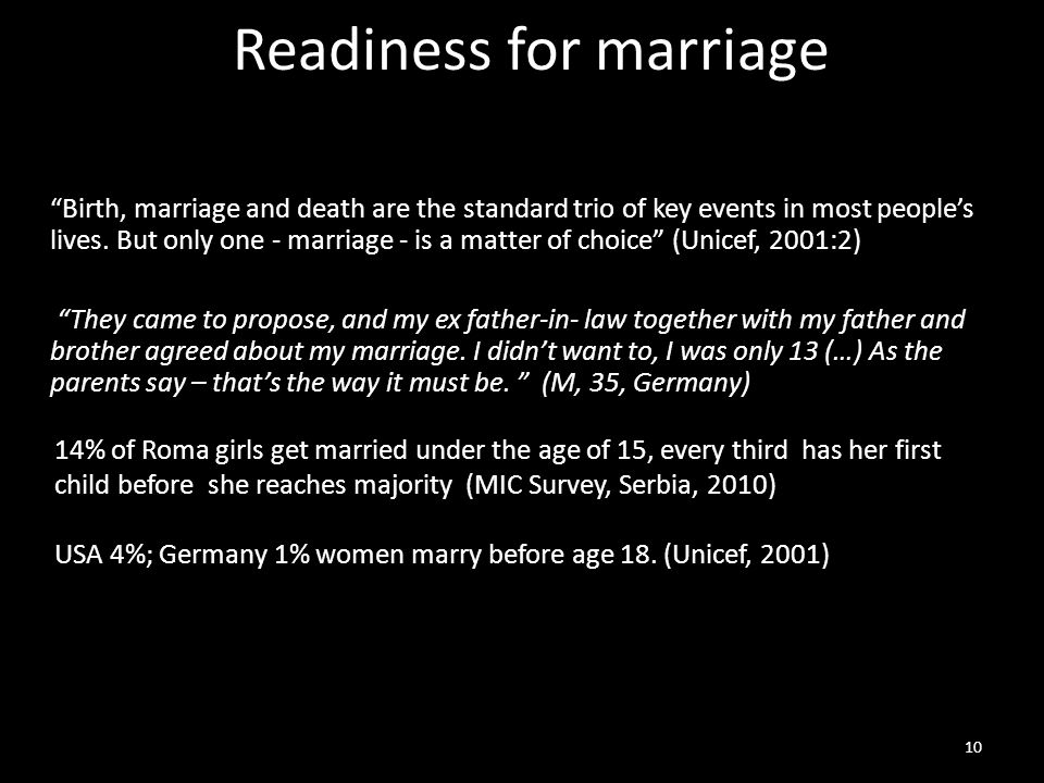 Readiness for marriage Birth, marriage and death are the standard trio of key events in most people's lives.