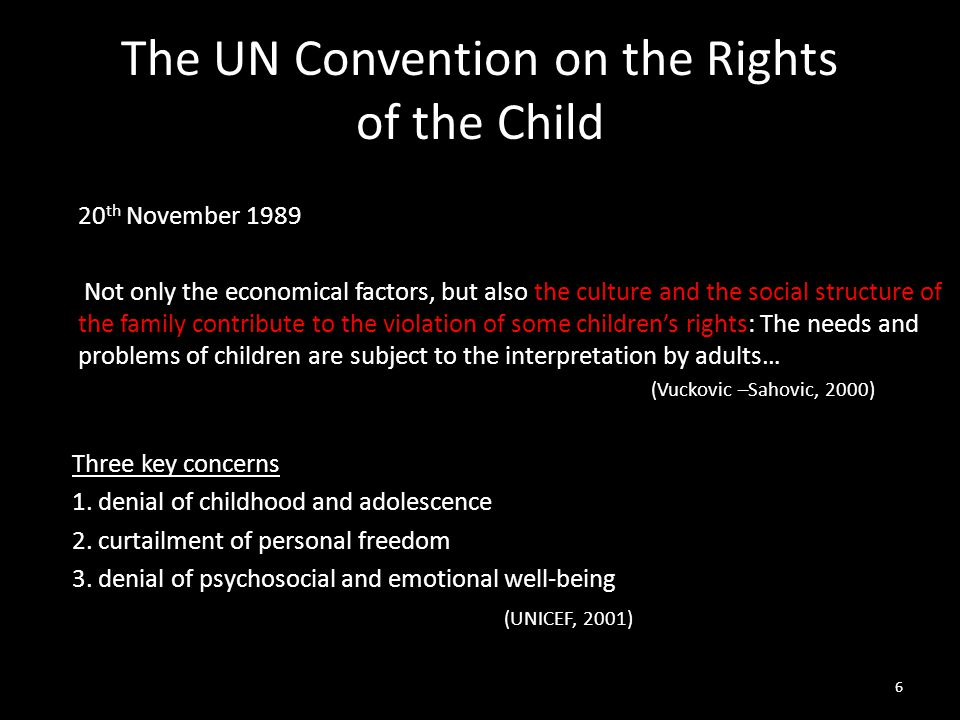 The UN Convention on the Rights of the Child 20 th November 1989 Not only the economical factors, but also the culture and the social structure of the family contribute to the violation of some children's rights: The needs and problems of children are subject to the interpretation by adults… (Vuckovic –Sahovic, 2000) Three key concerns 1.
