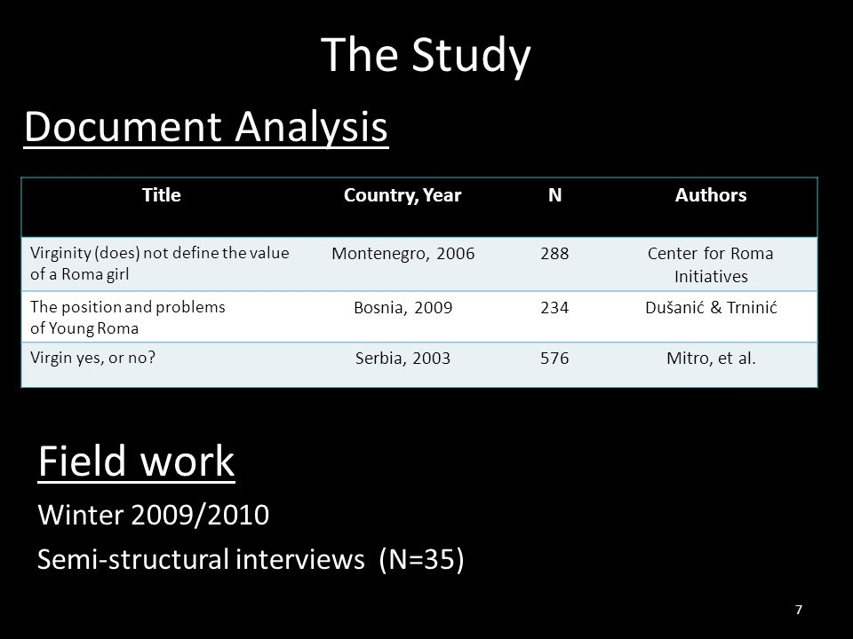 The Study Field work Winter 2009/2010 Semi-structural interviews (N=35) 7 TitleCountry, YearNAuthors Virginity (does) not define the value of a Roma girl Montenegro, Center for Roma Initiatives The position and problems of Young Roma Bosnia, Dušanić & Trninić Virgin yes, or no.
