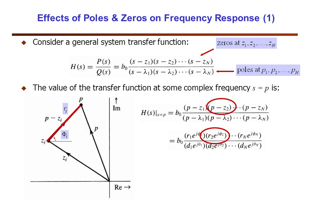 Effects of Poles & Zeros on Frequency Response (1) u Consider a general system transfer function:  The value of the transfer function at some complex frequency s = p is: