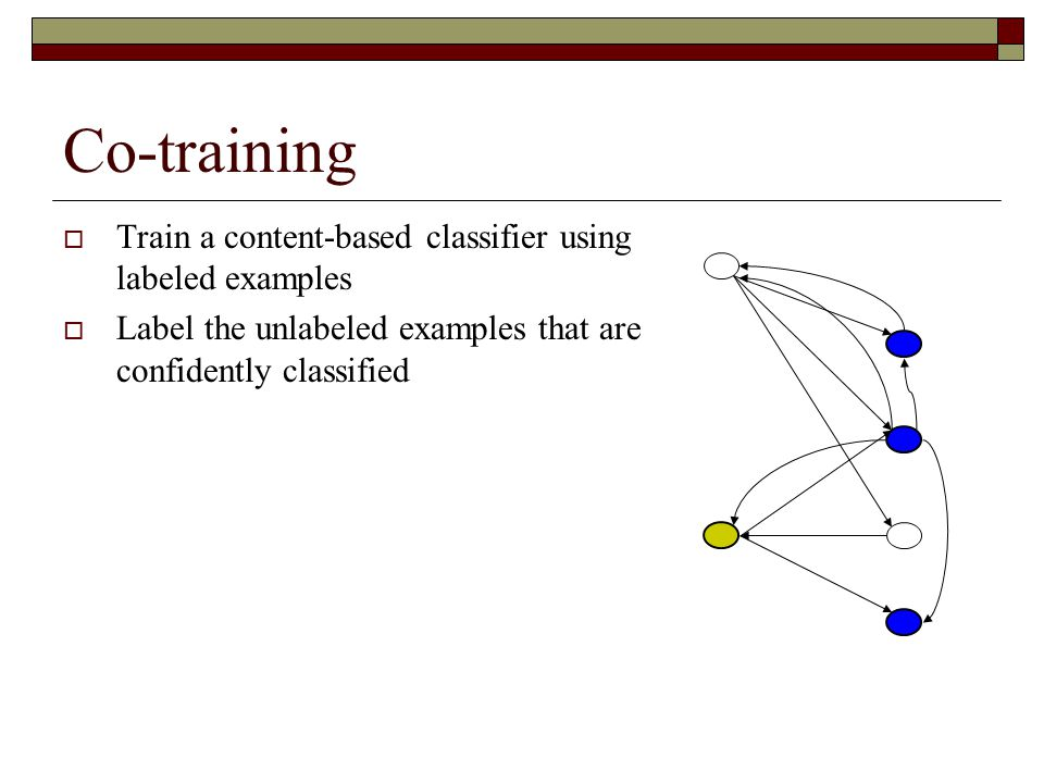Co-training  Train a content-based classifier using labeled examples  Label the unlabeled examples that are confidently classified