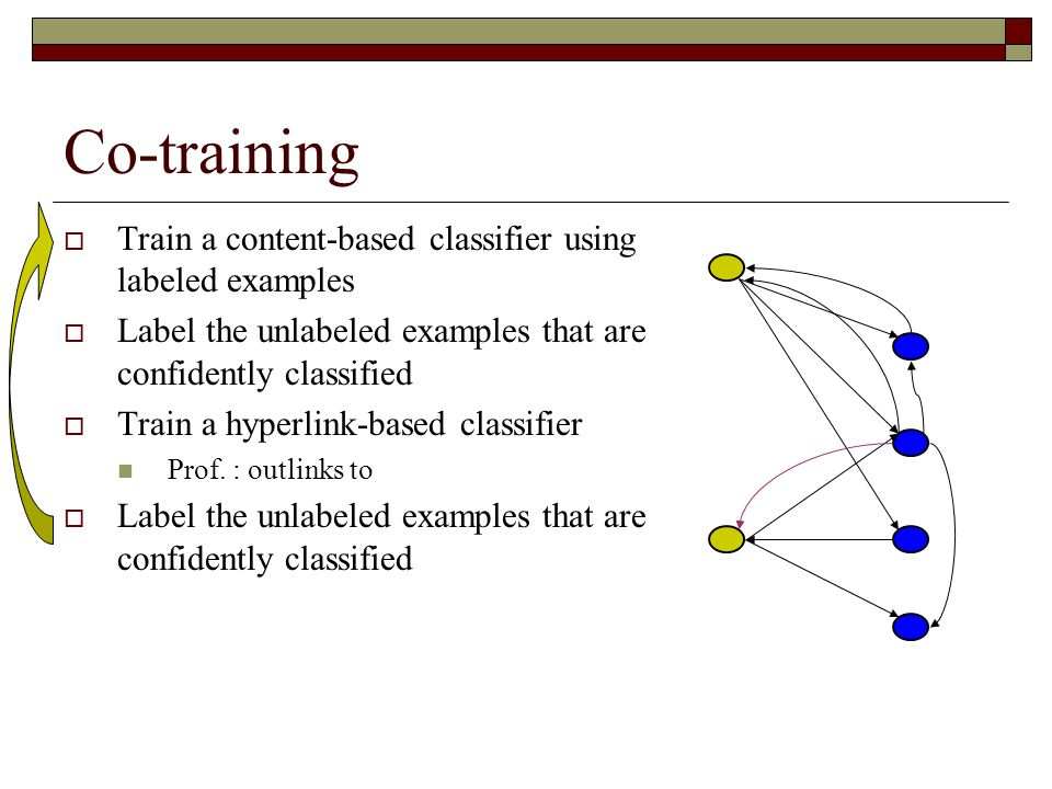 Co-training  Train a content-based classifier using labeled examples  Label the unlabeled examples that are confidently classified  Train a hyperlink-based classifier Prof.