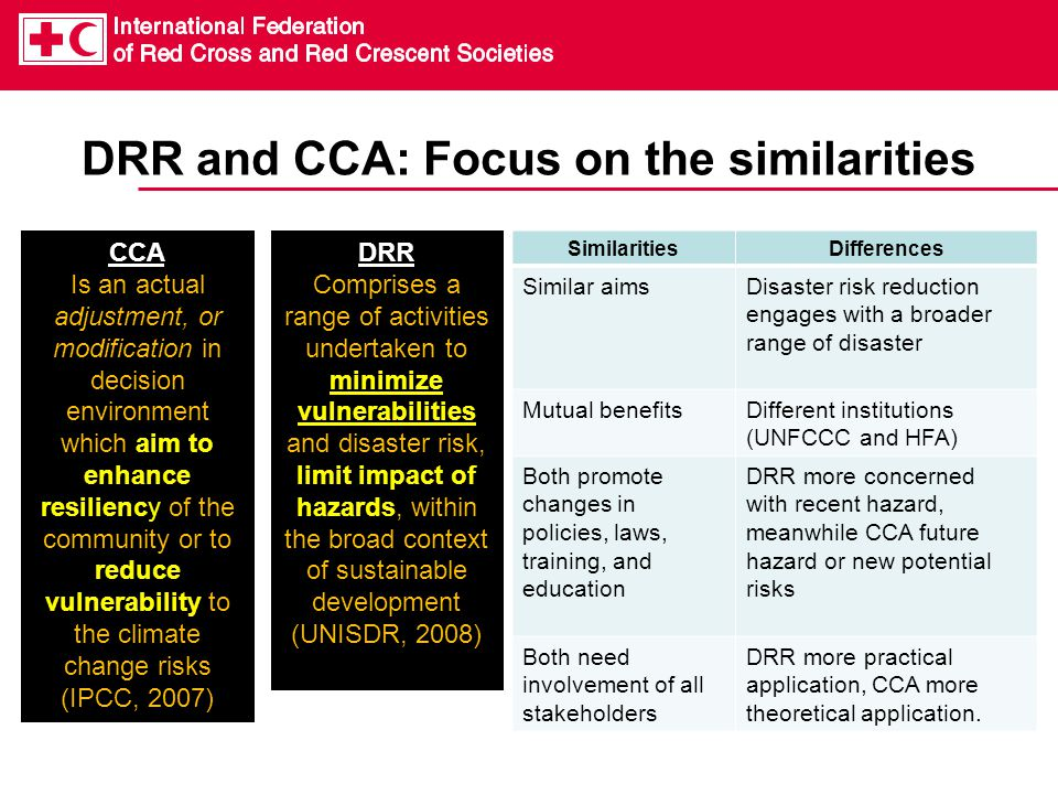 DRR and CCA: Focus on the similarities SimilaritiesDifferences Similar aimsDisaster risk reduction engages with a broader range of disaster Mutual benefitsDifferent institutions (UNFCCC and HFA) Both promote changes in policies, laws, training, and education DRR more concerned with recent hazard, meanwhile CCA future hazard or new potential risks Both need involvement of all stakeholders DRR more practical application, CCA more theoretical application.