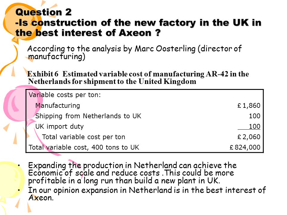 Question 2 -Is construction of the new factory in the UK in the best interest of Axeon .