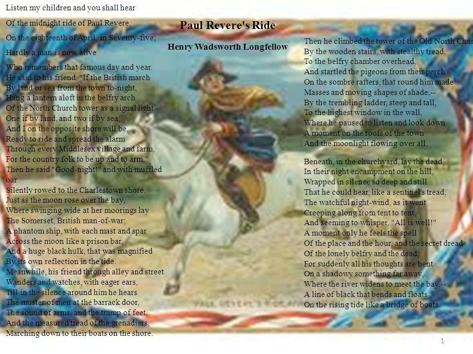 11 paul revere s ride henry wadsworth longfellow listen my children