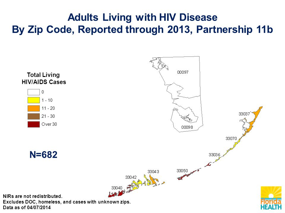 Total Living HIV/AIDS Cases Over N=682 Adults Living with HIV Disease By Zip Code, Reported through 2013, Partnership 11b NIRs are not redistributed.