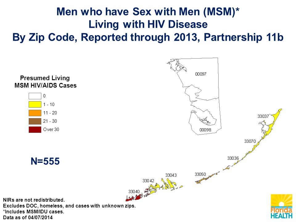 Presumed Living MSM HIV/AIDS Cases Over N=555 Men who have Sex with Men (MSM)* Living with HIV Disease By Zip Code, Reported through 2013, Partnership 11b NIRs are not redistributed.