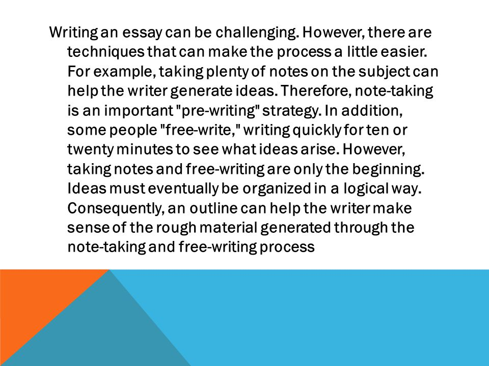 Writing an essay can be challenging.