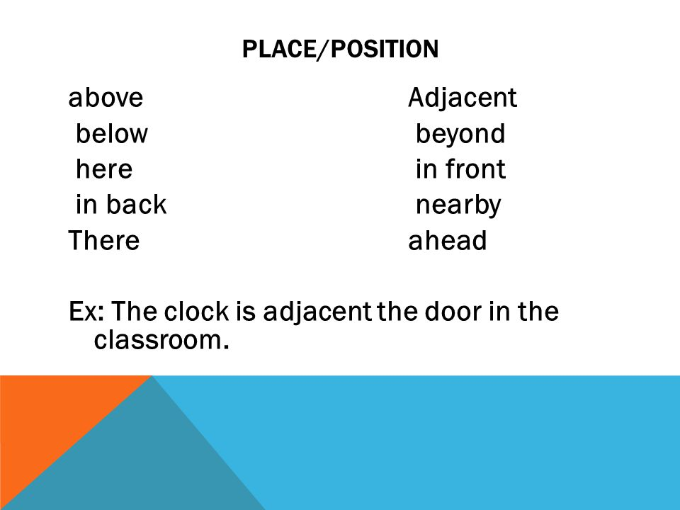 PLACE/POSITION aboveAdjacent below beyond here in front in back nearby Thereahead Ex: The clock is adjacent the door in the classroom.