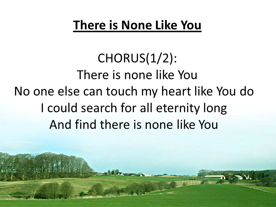 There is None Like You CHORUS(1/2): There is none like You No one else can touch my heart like You do I could search for all eternity long And find there is none like You
