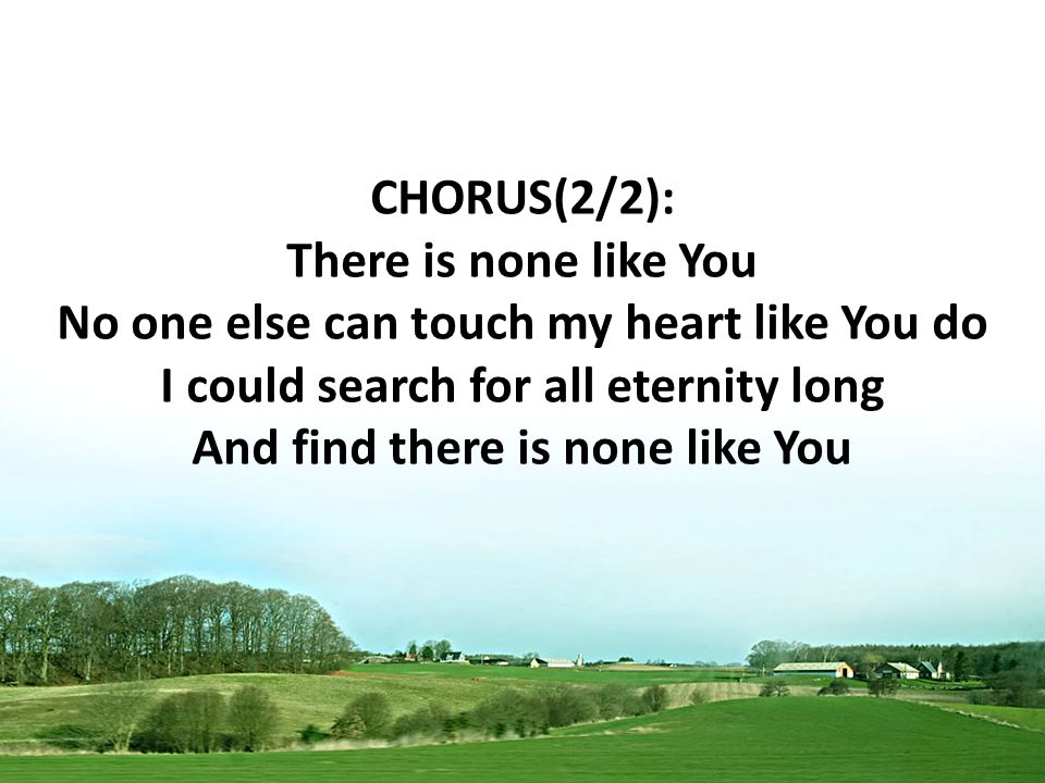 CHORUS(2/2): There is none like You No one else can touch my heart like You do I could search for all eternity long And find there is none like You