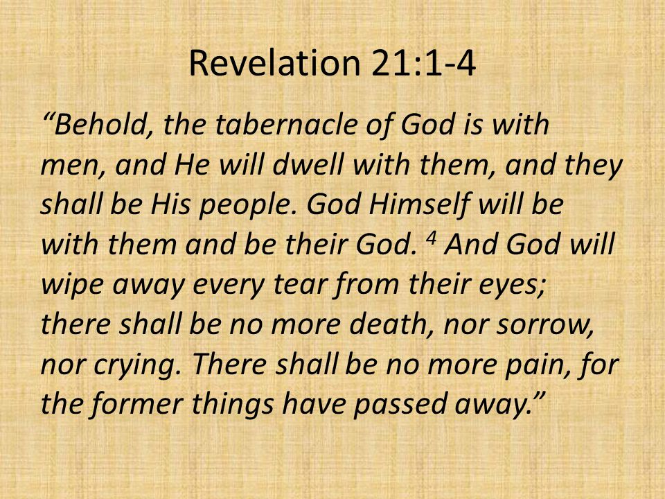 Revelation 21:1-4 Behold, the tabernacle of God is with men, and He will dwell with them, and they shall be His people.