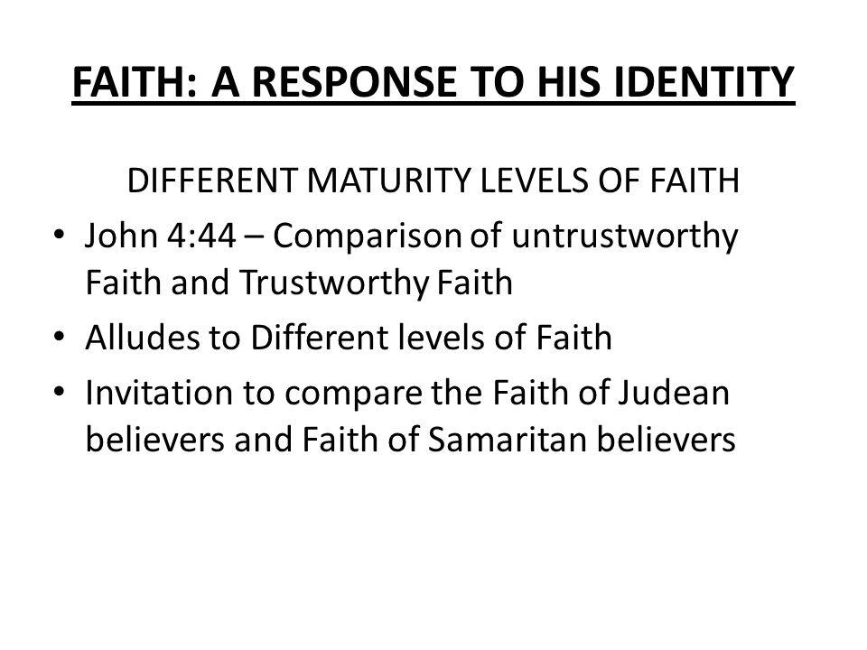 FAITH: A RESPONSE TO HIS IDENTITY John 4: FAITH: A RESPONSE