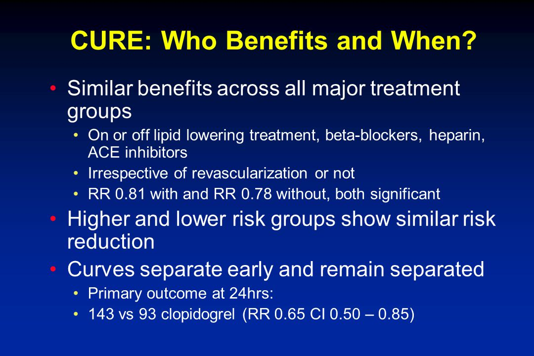 CURE: Who Benefits and When.